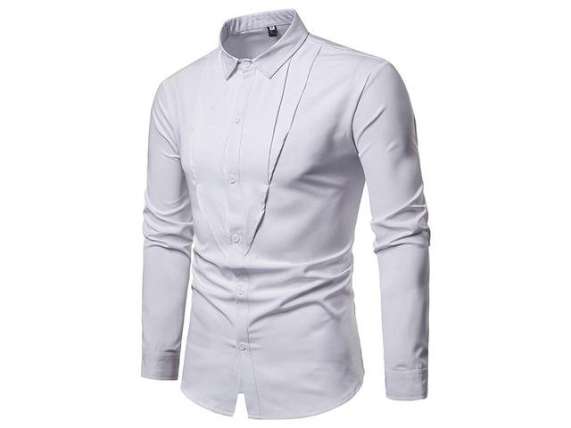 Casual Plain Lapel Slim Mens Shirt | free-classifieds-usa.com