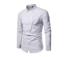 Casual Plain Lapel Slim Mens Shirt