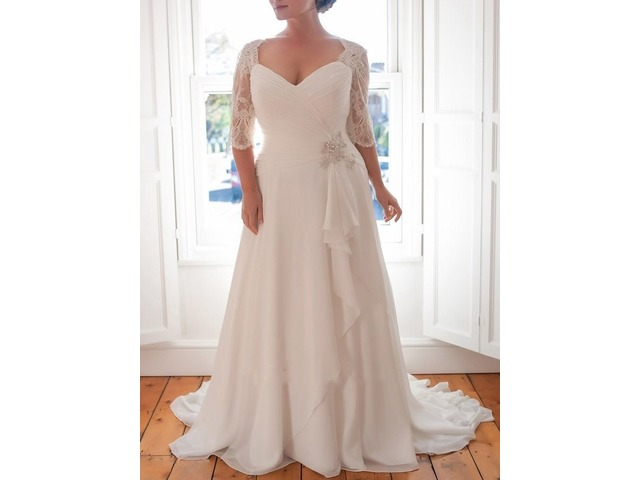 Half Sleeves Beading Plus Size Beach Wedding Dress 2019 | free-classifieds-usa.com