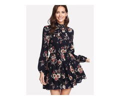 Long Sleeve Floral Womens A-Line Dress