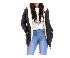 Hooded Faux Fur Liner Plain Womens Overcoat