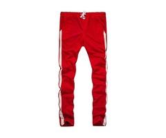 Men's Casual Slim Cotton Stripe Elastic Waist Sport Pants