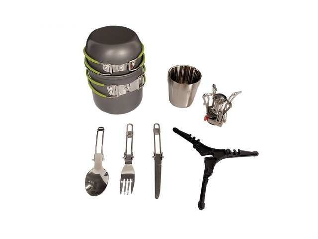 1-2 People Cookware Camping Picnic Set Tableware Portable Stove Bracket Cup Cooking Equipment | free-classifieds-usa.com