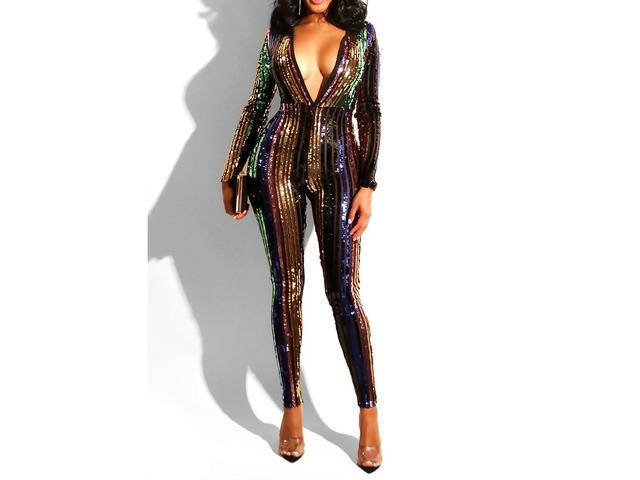Full Length Fashion Sequins High Waist Pencil Pants Womens Jumpsuit   free-classifieds-usa.com