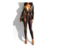 Full Length Fashion Sequins High Waist Pencil Pants Womens Jumpsuit