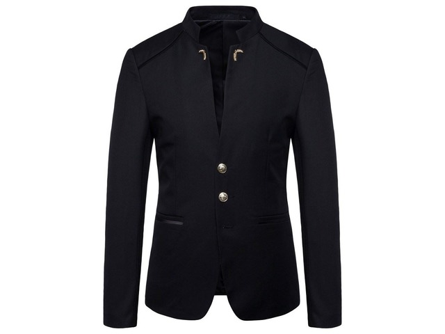 Plain Stand Collar Button Mens Fashion Blazer | free-classifieds-usa.com
