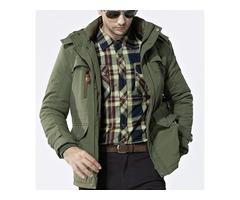 Mens Outdoor Jacket Fleece Warm Waterproof Plus Size Parka