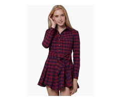 Red Plaid Single-Breasted Womens Skater Dress