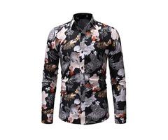 Floral Lapel Mens Casual Shirt