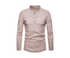 Stand Collar Plain Button Mens Casual Shirt