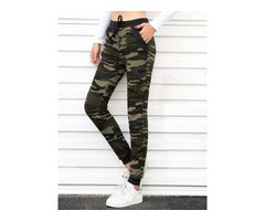 Camouflage Slim Lace-Up Mid-Waist Pencil Pants Womens Casual Pants