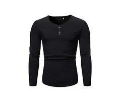 Button Plain Fashion V-Neck Slim Mens Shirt