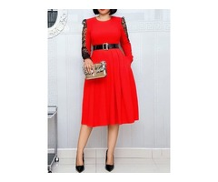 See-Through Mid-Calf Round Neck Sweet A-Line Womens Dress