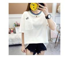 Cotton No-print Printed Loose Short-sleeved Long T-shirt Female Fashion T-shirt