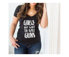 GIRLS DEEP V-NECK BLACK T-SHIRT