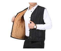 Mens Autumn Winter Fleece Thick Warm Black Solid Color V Nec