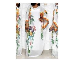 Floor-Length Round Neck Long Sleeve Pullover Straight Womens Dress