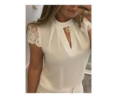 Lace Short Sleeve Summer Zipper Womens Blouse
