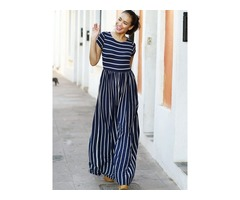 Casual Vertical Stripes Short Sleeve Maxi Dress
