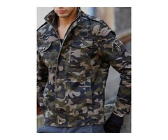 Stand Collar Zipper Camouflage European Mens Jacket