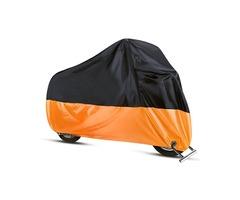 190T Motorcycle Cover Waterproof Outdoor Rain Dust UV Scooter Orange Black Protector L-4XL