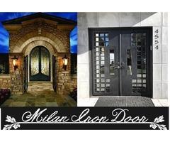 Custom Wrought Iron Door-front entry doors-Milan Iron Door Service