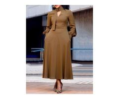 Stand Collar Long Sleeve Mid-Calf Standard-Waist Simple Womens Dress