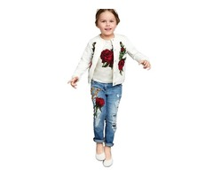 Chic Jacquard Tee Snaps Frayed Destroy 3-Pcs Girls Outfit