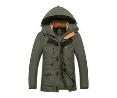 Hooded Zipper Plain Mens Coat