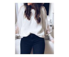 Regular Patchwork Long Sleeve Round Neck Womens Sweater