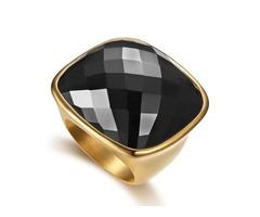 Square Gemstone Titanium Steel Polishing Ring