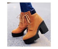 Suede Chunky Heel Lace-Up Front Ankle Boots