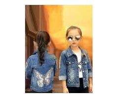 Shop Butterfly Applique Denim Jacket  for Girls
