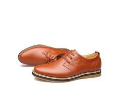 Solid Color Plain Toe Lace-Up Casual Shoes