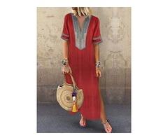Ankle-Length Split A-Line Womens Casual Dress