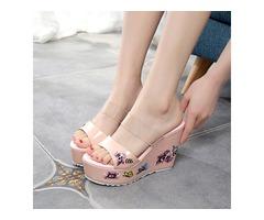 PVC Floral Wedge Heel Womens Slide Sandals