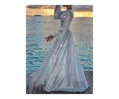 Sequins Floor-Length V-Neck Flare Sleeve Pullover Womens Dress