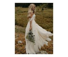 Off-The-Shoulder Lace Beach Wedding Dress 2019
