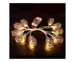 Battery Powered Silver Fanoos Lantern 10 LED String Holiday Light for Islamic Eid Ramadan