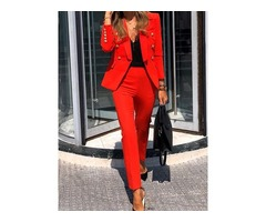 Casual Button Ankle Length Single-Breasted Womens Two Piece Sets