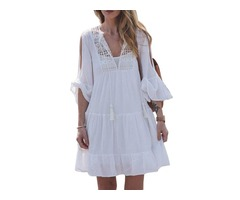 Knee-Length Half Sleeve V-Neck Mid Waist Pullover Womens Dress