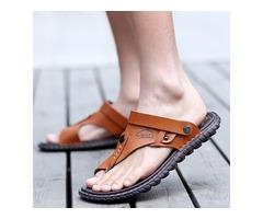 Simple PU Thong Slip-On Mens Sandals