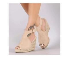 Wedge Heel Buckle Peep Toe Platform Womens Sandals
