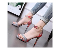 PU Woven Line-Style Buckle Stilettos Heel Womens Sandals