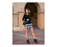 Double-Layer Plaid Patchwork Mid-Length Womens Blouse