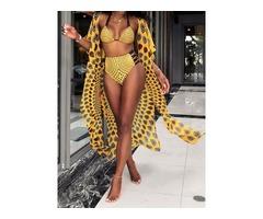3 Pieces Geometric Sexy Bikini Set