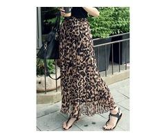 Chiffon Leopard Print Pleated Womens Skirt