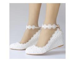 Beads Round Toe Wedge Heel Wedding Shoes