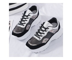 Lace-Up Round Toe Glitter Color Block Womens Sneakers