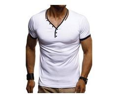V-Neck Slim Fit Plain Mens T-shirt